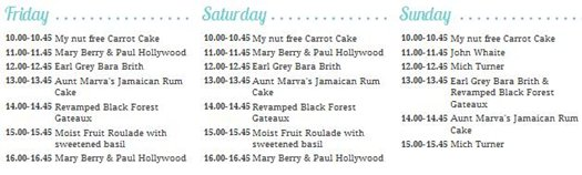 Cake International Bakery Theatre Timetable