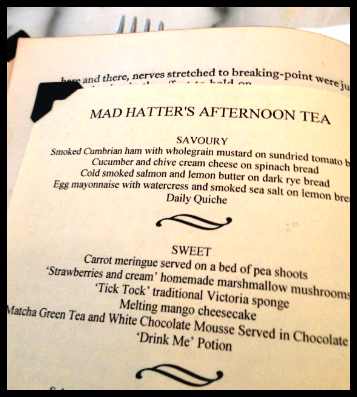 Mad Hatter's Menu