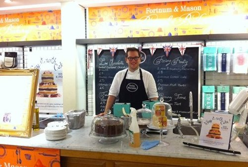 Edd Kimber in Fortum & Mason's - Boy who Bakes pop up shop
